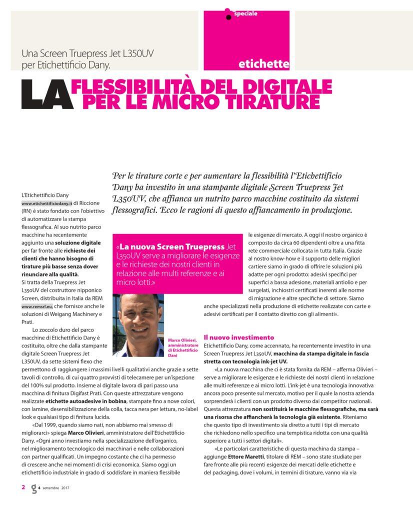 ITALIA GRAFICA: ETICHETTIFICIO DANY CONFERMA LA SCELTA DI REM
